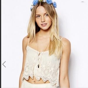 Boho floral embroidered camisole tank top blouse